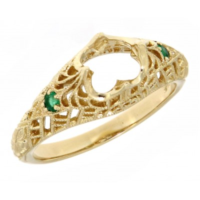 Semi Mount Filigree Ring with Emerald Accents - 14kt Yellow Gold