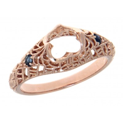 Semi Mount Filigree Ring with Sapphire Gems - 14kt Rose Gold