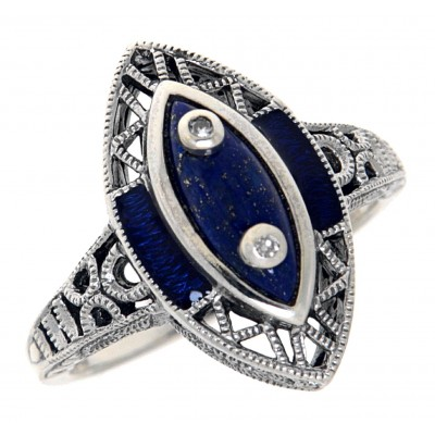 Victorian Style Lapis Lazuli Ring with Diamond Accents - Sterling Silver