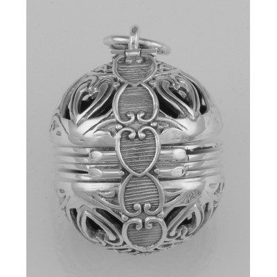 Victorian Style 6 Photo Ball Locket Pendant In Fine Sterling Silver