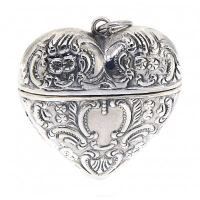 Victorian Style Sterling Silver Heart Locket Box Pendant - Small