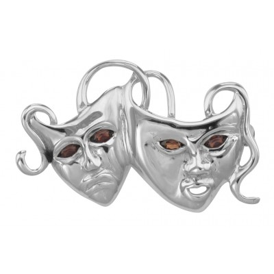 Sterling Silver Antiqued Comedy//Tragedy Pin