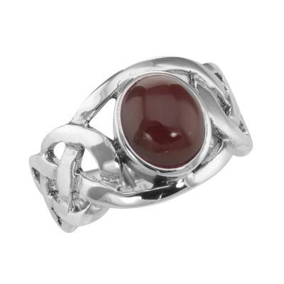 STERLING SILVER RED STONE & MARCASITE RING WITH VINTAGE STYLING - NICE