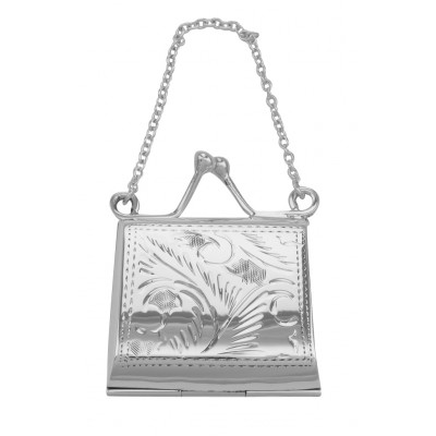 Antique Style Sterling Silver Etched Purse Locket / Pill Box
