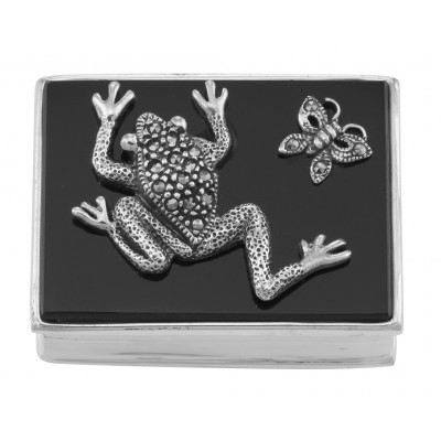Marcasite Frog and Butterfly Pillbox with Black Onyx Top - Sterling Silver