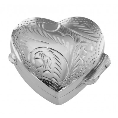 Small Beautiful Heart Shaped Sterling Silver Pillbox with Engraved Top
