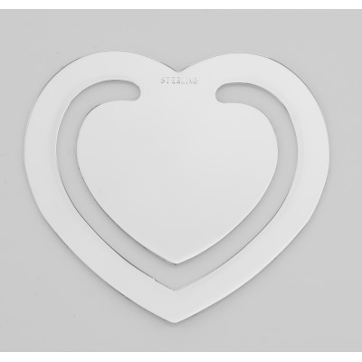 Sterling Silver Heart Shaped Bookmark - Made in USA