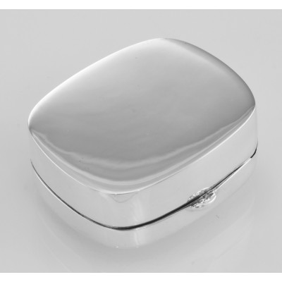 Small Rectangle Shape Sterling Silver Pillbox with Etched Top Design