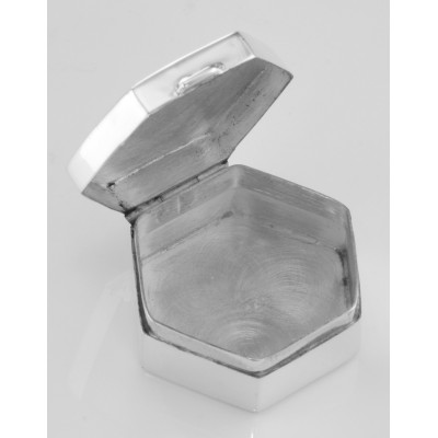 Small Hexagon Shaped Sterling Silver Pillbox with Engraved Top